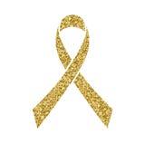 Gold glitter awareness ribbon. Simbol of Childhood Cancer Day  Royalty Free Stock Photos