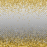 Gold glitter background. Golden sparkles on border. Template for holiday designs, invitation, party, birthday, wedding, New Year,. Christmas. Vector Stock Image
