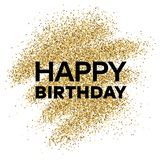 Gold glitter background with Happy Birthday inscription. Gold glitter sparkles background for greeting card, poster, banner, website, header, certificate Royalty Free Stock Image