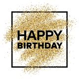 Gold glitter background with Happy Birthday inscription. Gold glitter sparkles background for greeting card, poster, banner, website, header, certificate Stock Images