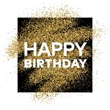 Gold glitter background with Happy Birthday inscription. Gold glitter sparkles background for greeting card, poster, banner, website, header, certificate Stock Image