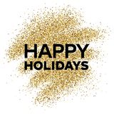 Gold glitter background with Happy Holiday inscription. Gold glitter sparkles background for greeting card, poster, banner, website, header, certificate Stock Photo