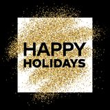 Gold glitter background with Happy Holiday inscription. Gold glitter sparkles background for greeting card, poster, banner, website, header, certificate Stock Images