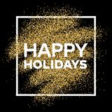 Gold glitter background with Happy Holiday inscription. Gold glitter sparkles background for greeting card, poster, banner, website, header, certificate Stock Photography