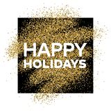 Gold glitter background with Happy Holiday inscription. Gold glitter sparkles background for greeting card, poster, banner, website, header, certificate Royalty Free Stock Image