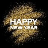 Gold glitter background with Happy New Year inscription. Gold glitter sparkles background for greeting card, poster, banner, website, header, certificate Stock Photography