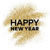 Gold glitter background with Happy New Year inscription. Gold glitter sparkles background for greeting card, poster, banner, website, header, certificate Stock Photo