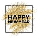 Gold glitter background with Happy New Year inscription. Gold glitter sparkles background for greeting card, poster, banner, website, header, certificate Royalty Free Stock Images