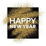 Gold glitter background with Happy New Year inscription. Gold glitter sparkles background for greeting card, poster, banner, website, header, certificate Royalty Free Stock Photos