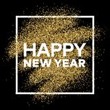 Gold glitter background with Happy New Year inscription. Gold glitter sparkles background for greeting card, poster, banner, website, header, certificate Royalty Free Stock Photo