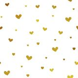Gold glitter background with hearts. Vector seamless graphic design for web, print use, wrapping paper. Valentine Day illustration royalty free illustration