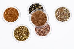 Gold glitter background. Gold glitter isolated on white background royalty free stock image