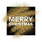 Gold glitter background with Merry Christmas inscription. Gold glitter sparkles background for greeting card, poster, banner, website, header, certificate Royalty Free Stock Photography