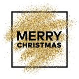 Gold glitter background with Merry Christmas inscription. Gold glitter sparkles background for greeting card, poster, banner, website, header, certificate Stock Photos