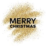 Gold glitter background with Merry Christmas inscription. Gold glitter sparkles background for greeting card, poster, banner, website, header, certificate Royalty Free Stock Photos