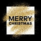 Gold glitter background with Merry Christmas inscription. Gold glitter sparkles background for greeting card, poster, banner, website, header, certificate Stock Image