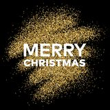 Gold glitter background with Merry Christmas inscription. Gold glitter sparkles background for greeting card, poster, banner, website, header, certificate Stock Photography