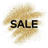 Gold glitter background with Sale inscription. Gold glitter sparkles background for greeting card, poster, banner, website, header, certificate. Abstract Stock Photography