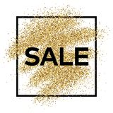 Gold glitter background with Sale inscription. Gold glitter sparkles background for greeting card, poster, banner, website, header, certificate. Abstract Royalty Free Stock Photography