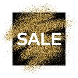 Gold glitter background with Sale inscription. Gold glitter sparkles background for greeting card, poster, banner, website, header, certificate. Abstract Royalty Free Stock Image