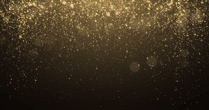 Gold glitter background with sparkle shine light confetti effect. Luminous glittering light flare overlay black background. Golden