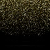 Gold glitter background with sparkle shine light confetti. Vector glittering black background. Golden shimmer texture. For luxury backdrop design stock illustration