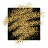 Gold glitter background. Gold glitter sparkles background for greeting card, poster, banner, website, header, certificate. Abstract background of golden smear Stock Photos