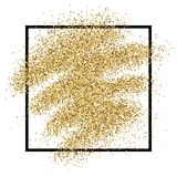 Gold glitter background. Gold glitter sparkles background for greeting card, poster, banner, website, header, certificate. Abstract background of golden smear Stock Photo