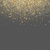 Gold glitter background. Star dust sparks transparent background Stock Photography