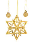 Gold glitter baubles and star Royalty Free Stock Images