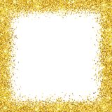 Gold glitter border frame on white backround. Vector