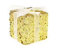 Gold glitter box Stock Photos