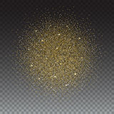 Gold glitter and bright sand, transparent background. Stock Image