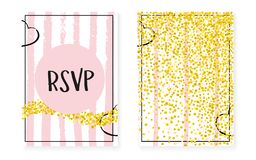 Gold glitter cards with dots and sequins. Wedding and bridal sho Stock Photography