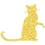Gold glitter cat. Gold glitter textured cat isolated over white background. Vector illustration design element Stock Photo