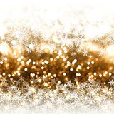 Gold glitter Christmas background with snowflakes stock illustration