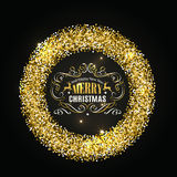Gold glitter christmas frame with calligraphy elements. Christmas Lettering Royalty Free Stock Photography