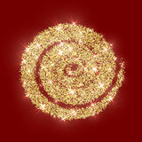 Gold glitter circle golden vector abstract Christmas texture red Royalty Free Stock Photo