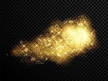 Gold glitter cloud burst effect sparkling particles on vector transparent background. Gold sparkling glitter and golden stars lights on vector black transparent stock illustration