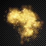 Gold glitter cloud burst of shining sparkles on vector transparent background. Gold glitter cloud or splatter burst. Sparkling stars or golden firework effect vector illustration
