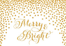 Gold glitter confetti Christmas card. Merry and bright, gold glitter confetti Christmas card over white background Stock Photography