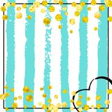 Gold glitter confetti with dots. Wedding glitter confetti with dots on turquoise stripes. Random falling sequins with glossy sparkles. Design with gold wedding stock illustration