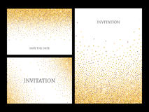 Gold glitter confetti frame for festive greeting card. Invitation letters template with gold glitter confetti background. Festive greeting cards design for Royalty Free Stock Photography