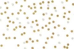 Gold glitter confetti paper cut. On white background Stock Image