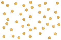 Gold glitter confetti paper cut on white background. Isolated Royalty Free Stock Photos