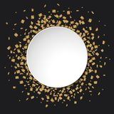Gold glitter confetti round white banner with place for text on black background. Illustration of Gold glitter confetti round white banner with place for text on Royalty Free Stock Image