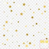 Gold glitter Confetti stars background.  Stock Images