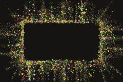 Gold glitter confetti texture banner with place for text on a black background. Golden explosion of confetti. Colorful. Grainy dust abstract texture. Christmas royalty free illustration
