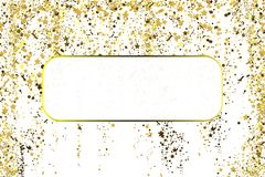 Gold glitter confetti texture with plase for text on a white background. Golden explosion of confetti. Colorful grainy. Dust abstract texture on a black vector illustration