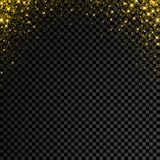 Gold glitter confetti on transparent background. Vector star sparkle rain with glowing shine splatter royalty free illustration